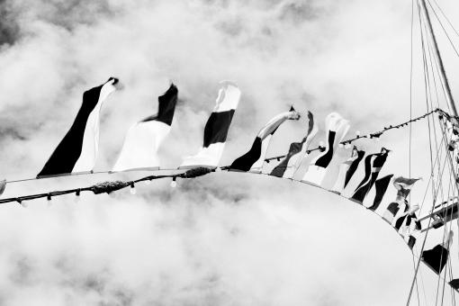 Free Stock Photo of Blackandwhite flags