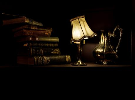 Free Stock Photo of Lamp and old book