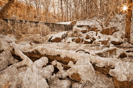 Free Stock Photo of Frozen Sunset Waterfall - Sepia Nostalgia