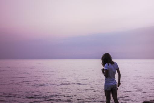 Free Stock Photo of Girl by the ocean