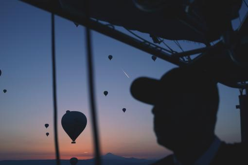 Free Stock Photo of Hot Air Balloons from the Window