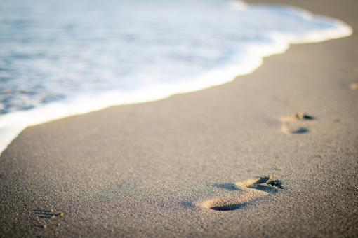 Free Stock Photo of Footsteps on the Beach