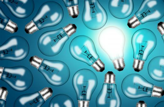 Free Stock Photo of Many Lightbulbs on Blue Background - Ideas and Creativity Concept