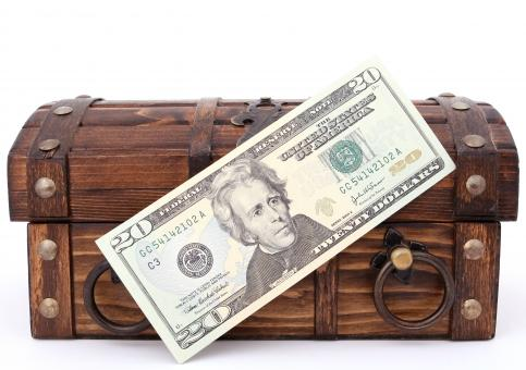 Free Stock Photo of 20 Dollars and Treasure Chest
