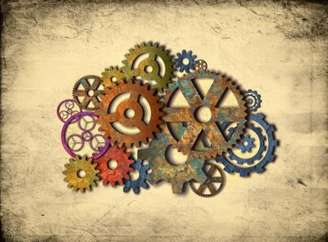 Free Stock Photo of Retro Rusty Colorful Cogwheels