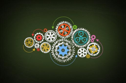 Free Stock Photo of Working - Concept of Work with Cogwheels on Blackboard