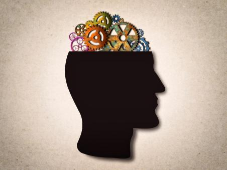 Free Stock Photo of Thinking - Cogwheels on The Head