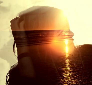 Free Stock Photo of Girl on the Beach at Sunset - Double Exposure Effect