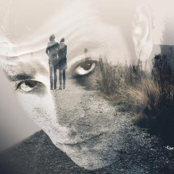 Free Stock Photo of Man remembering his girlfriend - Double Exposure Effect