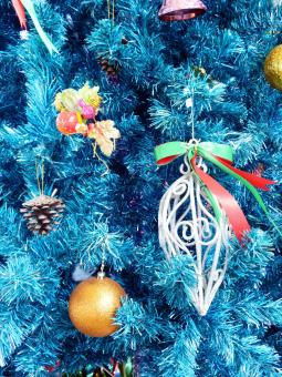 Free Stock Photo of Christmas tree decorations