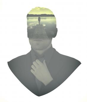 Free Stock Photo of People - Businessman Aspirations - Double Exposure Effect