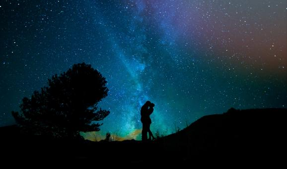 Free Stock Photo of Couple under the Milky Way