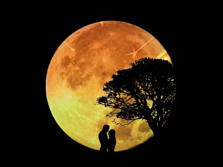 Free Stock Photo of Lovers in front of a large moon