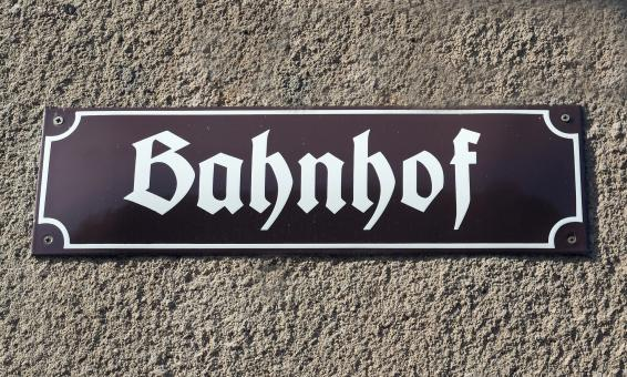 Free Stock Photo of Bahnhof Sign