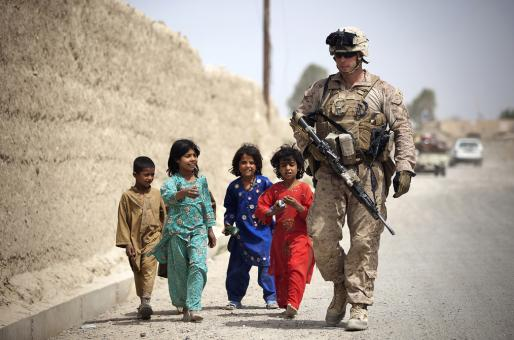 Free Stock Photo of Soldier with the Kids