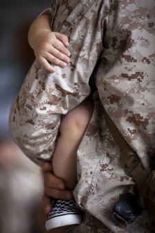 Free Stock Photo of Soldier with his Kid