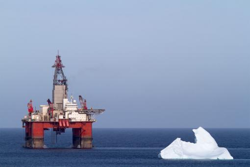 Free Stock Photo of Iceberg Near Offshore Oil and Gas Rig