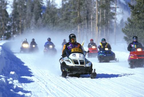 Free Stock Photo of Snowmobile Racing