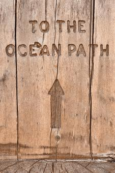 Free Stock Photo of Wood Ocean Path Sign - HDR