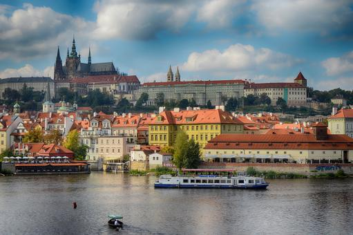 Free Stock Photo of Prague Castle view from the Charles Bridge in Prague