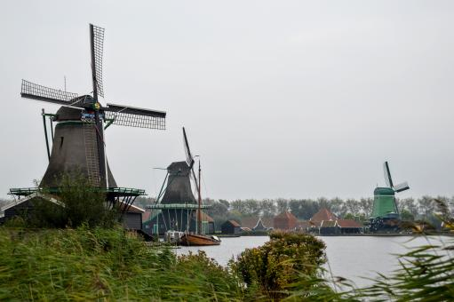 Free Stock Photo of Windmills in Dutch countryside