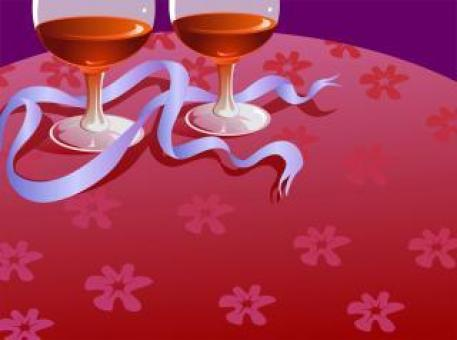 Free Stock Photo of Two Wine Glasses and Ribbon