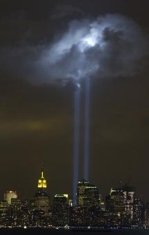 Free Stock Photo of Tribute in Light Memorial