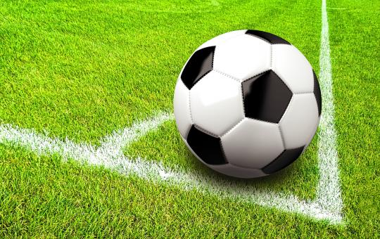 Free Stock Photo of Soccer - Football - Ball in the Corner of the Pitch