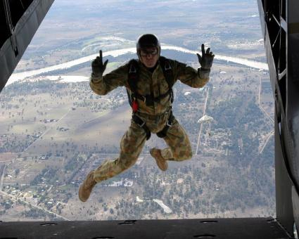 Free Stock Photo of Military Skydiver