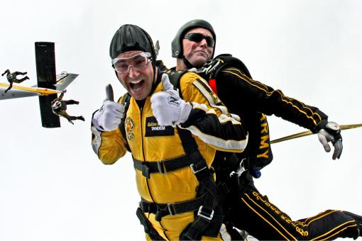 Free Stock Photo of Tandem Skydivers