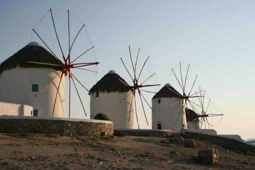 Free Stock Photo of Windmills in Village