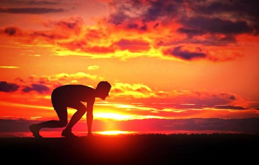Free Stock Photo of Healthy Young Runner at Sunrise