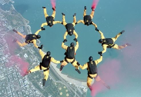 Free Stock Photo of Group of Skydivers