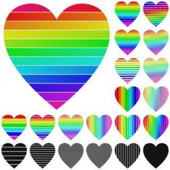 Free Stock Photo of Set of Rainbow Heart Logo Designs