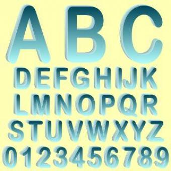 Free Stock Photo of Blue Isometric 3D Font Set