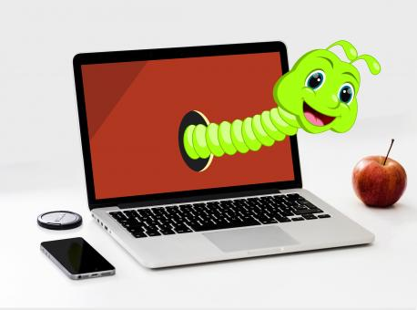 Free Stock Photo of Worm Cartoon and Apple