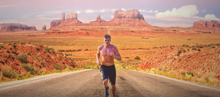Free Stock Photo of Runner on Monument Valley