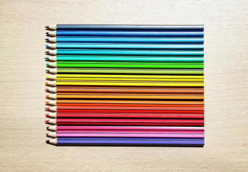 Free Stock Photo of Colored Pencils Aligned