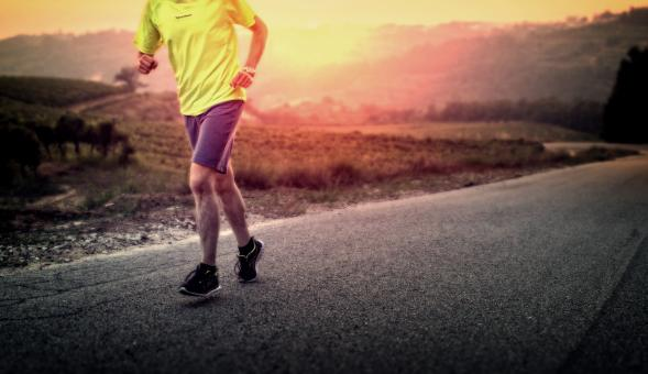 Free Stock Photo of Male Runner in the Countryside at Sunrise