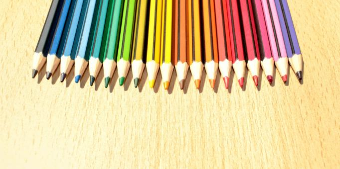 Free Stock Photo of Colorful Pencils in a Row with Copyspace