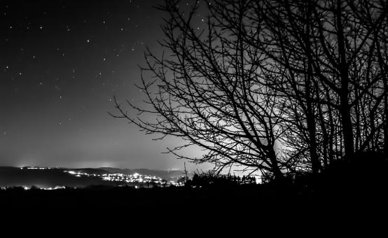 Free Stock Photo of Black and White Night Sky