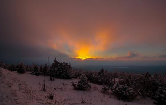 Free Stock Photo of Winter Sunset in Fichtelberg