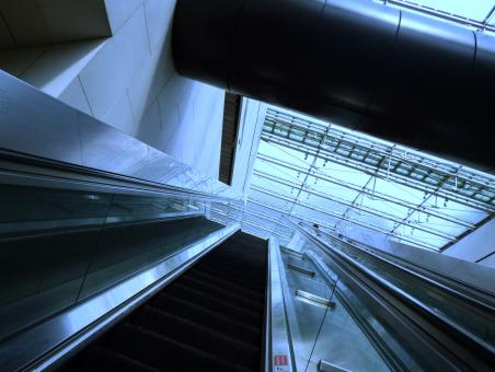 Free Stock Photo of Escalator looking up