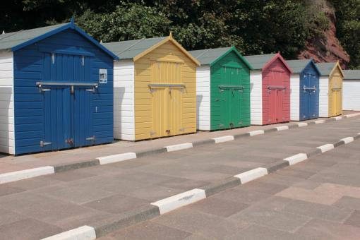 Free Stock Photo of Coloured Beach Huts