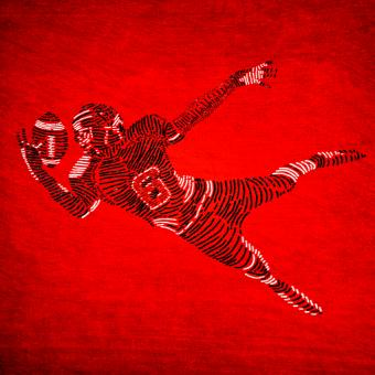 Free Stock Photo of American Football Player on Red Background
