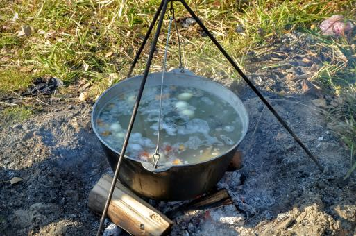 Free Stock Photo of Ukha (fish-soup) cooked with wood ear in a cauldron