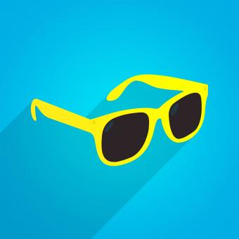 Free Stock Photo of Yellow Fun Sunglasses