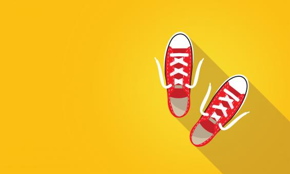 Free Stock Photo of Red Sneakers on Bright Yellow Background