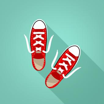 Free Stock Photo of Red Sneakers on Turquoise Background