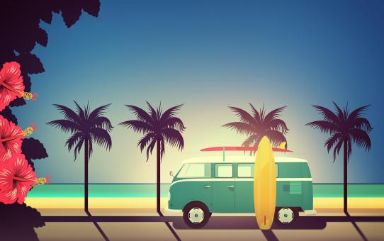 Free Stock Photo of End of Summer - Illustration with Surfers Van with Copyspace